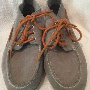 Lands End Canvas Suede Leather Boat Shoes Size 10D